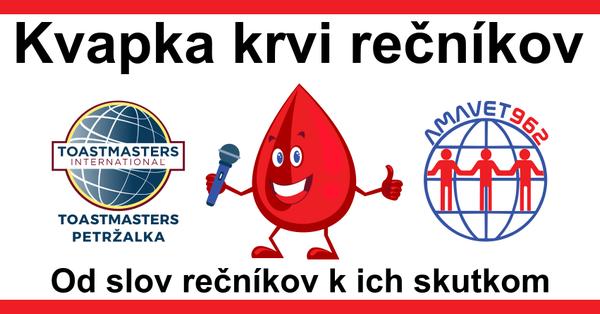 Cieľom projektu Kvapka krvi rečníkov je budovať komunitu darcov krvi, podporovať súčasných a motivovať nových záujemcov pre bezpríspevkové darcovstvo. Súčasťou je šírenie osvety dobrovoľníctva a pomoci chorým osobám.