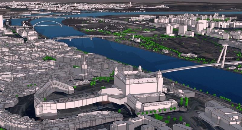 3D vizualiácia GIS vrstiev geoportálu hlavného mesta SR, autor: Peter Kaclík