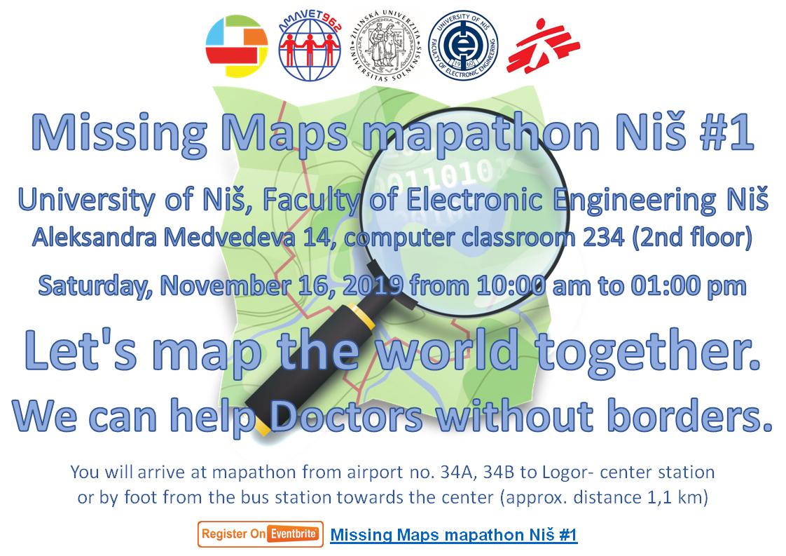 Registrácia na Missing Maps mapathon Niš #1