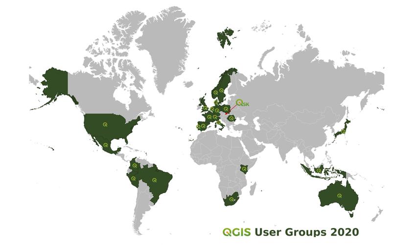 Mapa 24 skupín používateľov QGIS vo svete, autor: Jana Michalková, zdroj podkladovej mapy: Natural Earth Data 2020