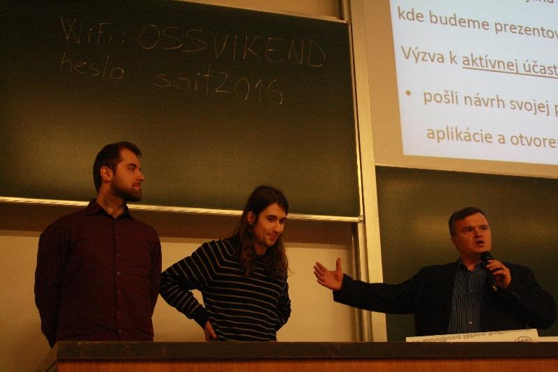 Záverečné poďakovanie Mila Ofúkaného za spoluprácu Martinovi Kalivodovi a Martinovi Pravdovi na tvorbe WebMapu, foto: Monika Sedláková